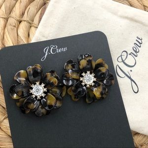 JCrew Full Bloom Tortoise Shell Flower Earrings